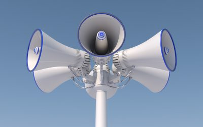 3d render of 6 loudspeakers in a pole